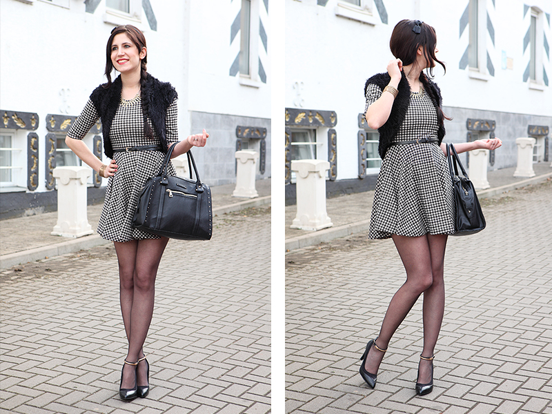 Outfit] Elegance, - Hahnentrittkleid, roter Trenchcoat und Fellweste ...