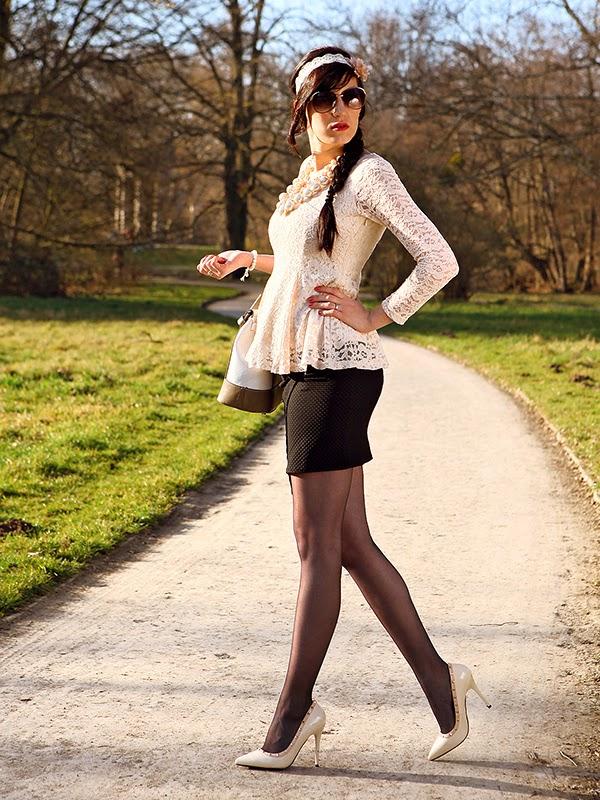 Outfit] Oasap Peplum & Zalando Rock - Shades of Ivory