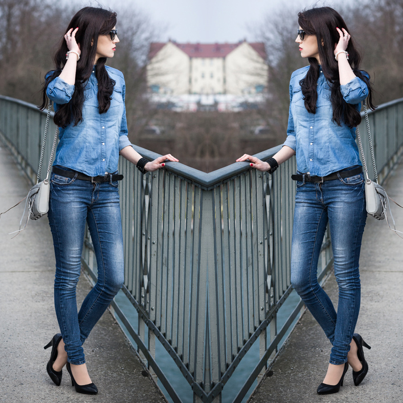 Streetstyle, Double Demin, Jeans All Over Look, Mini Mac, Blue Jeans, Perlenarmband, Charm, Sunglasses, Fashion, Fashionblogger, Hannover, Lookbook, OOTD
